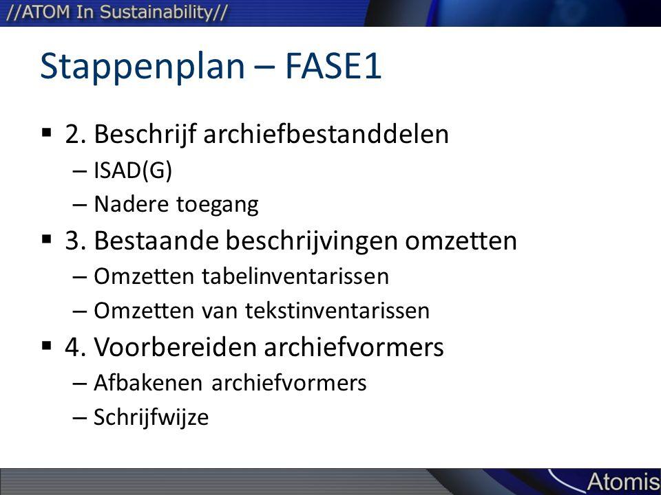 Stappenplan – FASE1  2. Beschrijf archiefbestanddelen – ISAD(G) – Nadere toegang  3. Bestaande beschrijvingen omzetten – Omzetten tabelinventarissen
