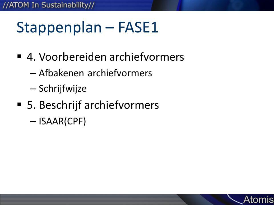Stappenplan – FASE1  4. Voorbereiden archiefvormers – Afbakenen archiefvormers – Schrijfwijze  5. Beschrijf archiefvormers – ISAAR(CPF)
