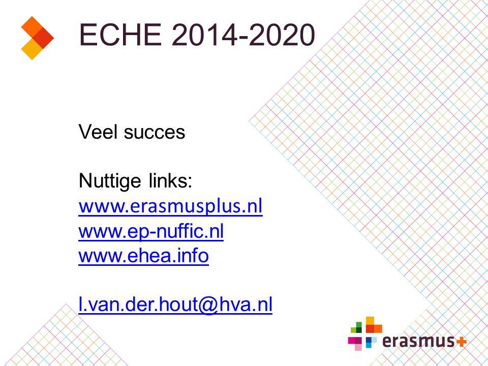 ECHE 2014-2020 Veel succes Nuttige links: www.erasmusplus.nl www.ep-nuffic.nl www.ehea.info l.van.der.hout@hva.nl