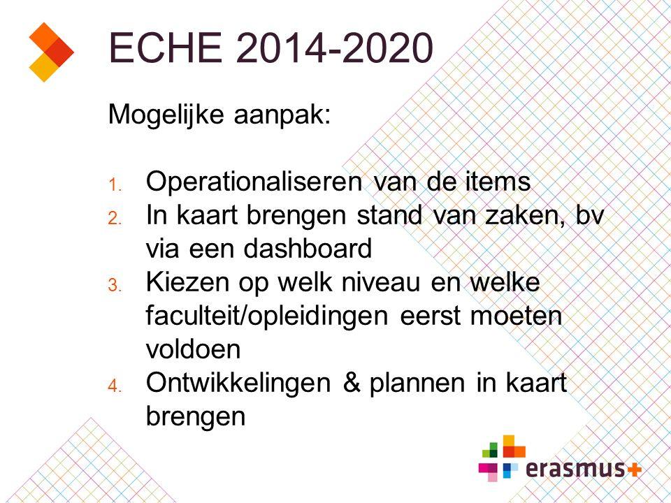 ECHE 2014-2020 Mogelijke aanpak: 1. Operationaliseren van de items 2.