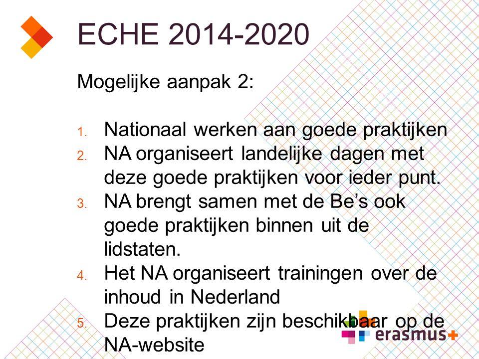 ECHE 2014-2020 Mogelijke aanpak 2: 1. Nationaal werken aan goede praktijken 2.