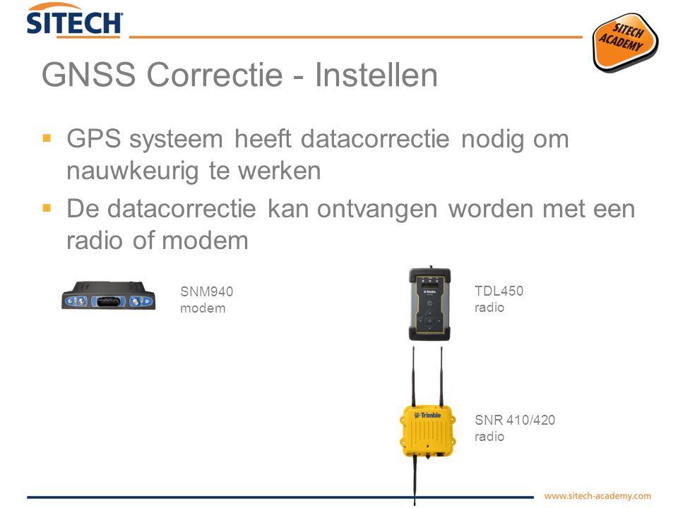 GNSS Correctie Repeteerbare nauwkeurigheid hoogte (z –as ) Toepassingsvoorbeelden Virtueel Basis Station via internet (VRS) Basis Station met radio (RADIO) Basis Station met internetcorrectie (NTRIP) Grof grondverzet Aanleg leidingwerk (Gas/persleidingen) Baggerwerkzaamheden Ontgravingen tot grondlaag Fijn grondverzet Golfbanen Afwerken dijk Ontgraving cunet Type Basis configuratie