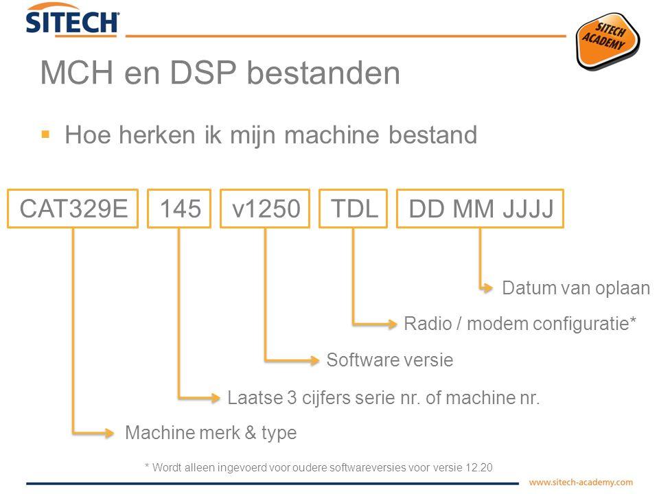 MCH en DSP bestanden  Waarom worden er gegevens opgeslagen in machine bestanden ?  Inhoud van een MCH bestand –Machine soort (kraan, bulldozer, grad