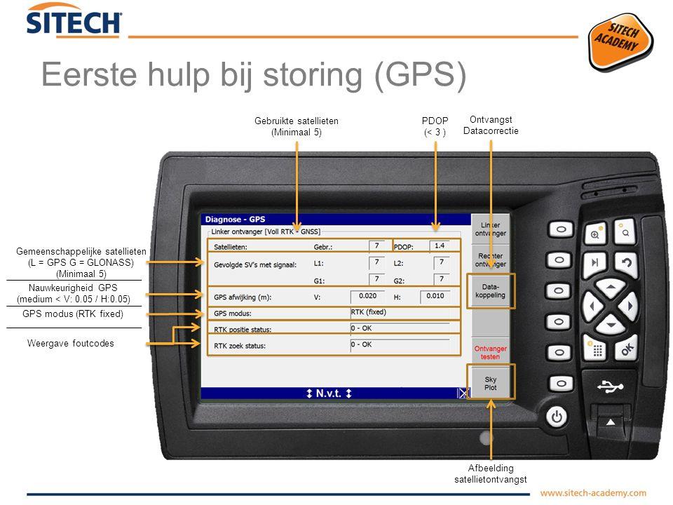 Eerste hulp bij storing (diagnose) Systeemonderdelen opgeslagen in machine instellingen Aangesloten / niet aangesloten Software versie op systeemonderdeel GPS ontvangst controleren