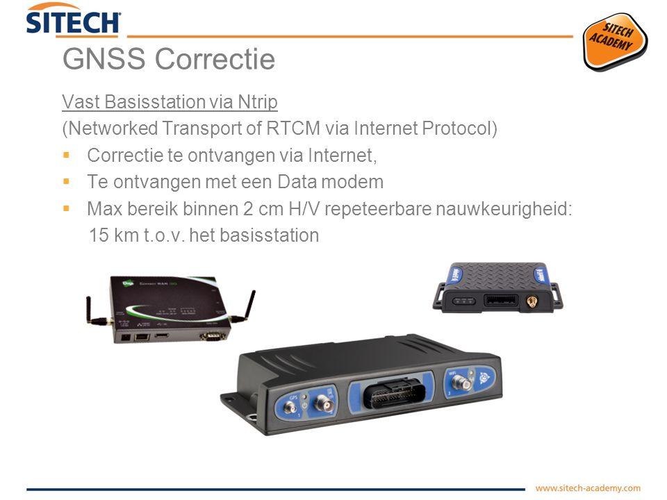 GNSS Correctie Vast Basisstation met Radio  Signaal wordt verzonden door de ether 450Mhz  Te ontvangen door iedereen met een geschikte radio  Bereik is sterk afhankelijk van omgeving en ether –1 tot 5 km  Signaal versterken.