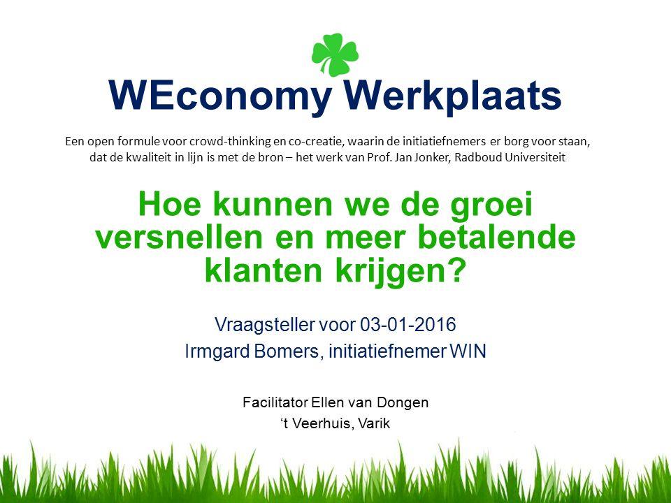 WEconomy Werkplaats Vraagsteller voor 03-01-2016 Irmgard Bomers, initiatiefnemer WIN Facilitator Ellen van Dongen 't Veerhuis, Varik Een open formule voor crowd-thinking en co-creatie, waarin de initiatiefnemers er borg voor staan, dat de kwaliteit in lijn is met de bron – het werk van Prof.