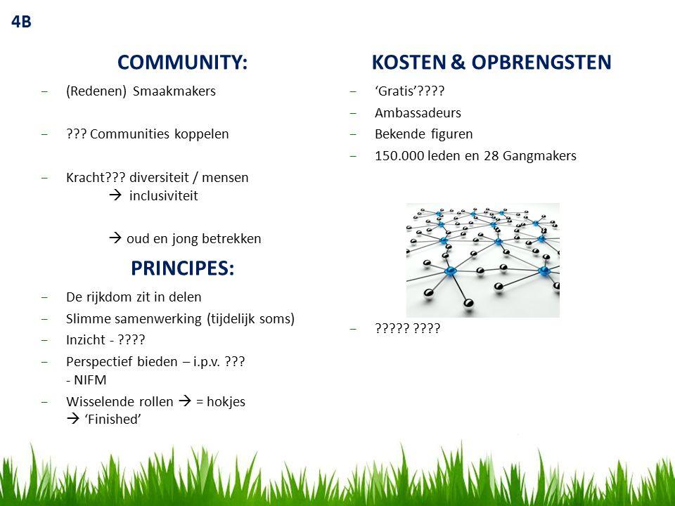 4B COMMUNITY: −(Redenen) Smaakmakers −??. Communities koppelen −Kracht??.