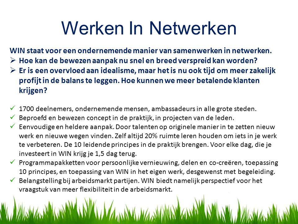 Werken In Netwerken WIN staat voor een ondernemende manier van samenwerken in netwerken.