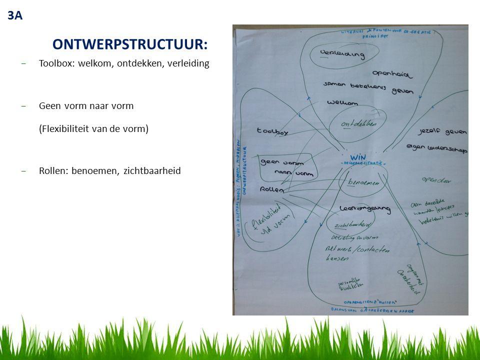 3B COMMUNITY: −Jezelf geven −Eigen leiderschap −Open deur −Aan dezelfde waarden / principes betekenis willen geven KOSTEN & OPBRENGSTEN −Rollen benoemen −Leeromgeving −Zichtbaarheid −Bezieling en vorm −Netwerk / contacten / kansen −Persoonlijke kwaliteiten −Omgaan met onzekerheid PRINCIPES: −Verleiding −Openheid −Samen betekenis geven −Welkom −Ontdekken