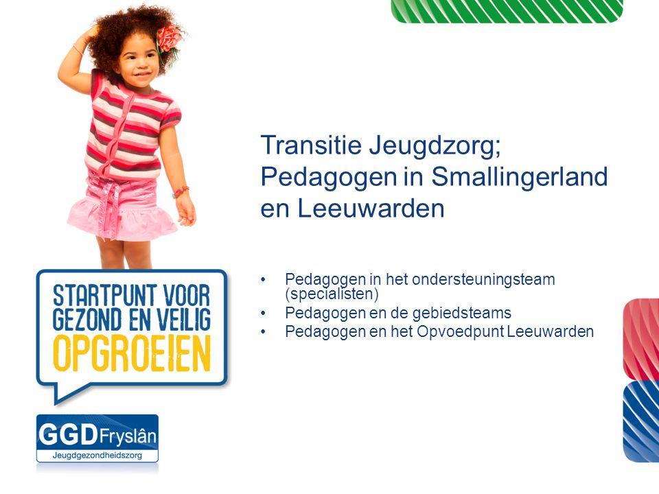 Transitie Jeugdzorg; Pedagogen in Smallingerland en Leeuwarden Pedagogen in het ondersteuningsteam (specialisten) Pedagogen en de gebiedsteams Pedagog