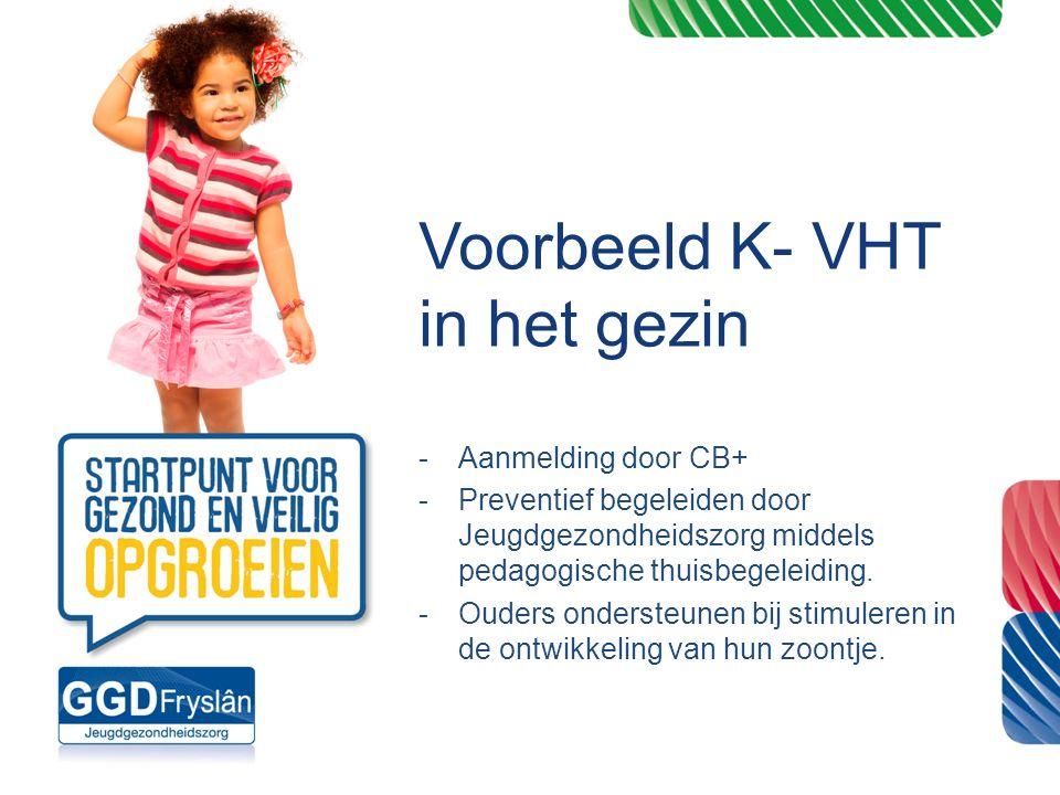 Voorbeeld K- VHT in het gezin -Aanmelding door CB+ -Preventief begeleiden door Jeugdgezondheidszorg middels pedagogische thuisbegeleiding. -Ouders ond