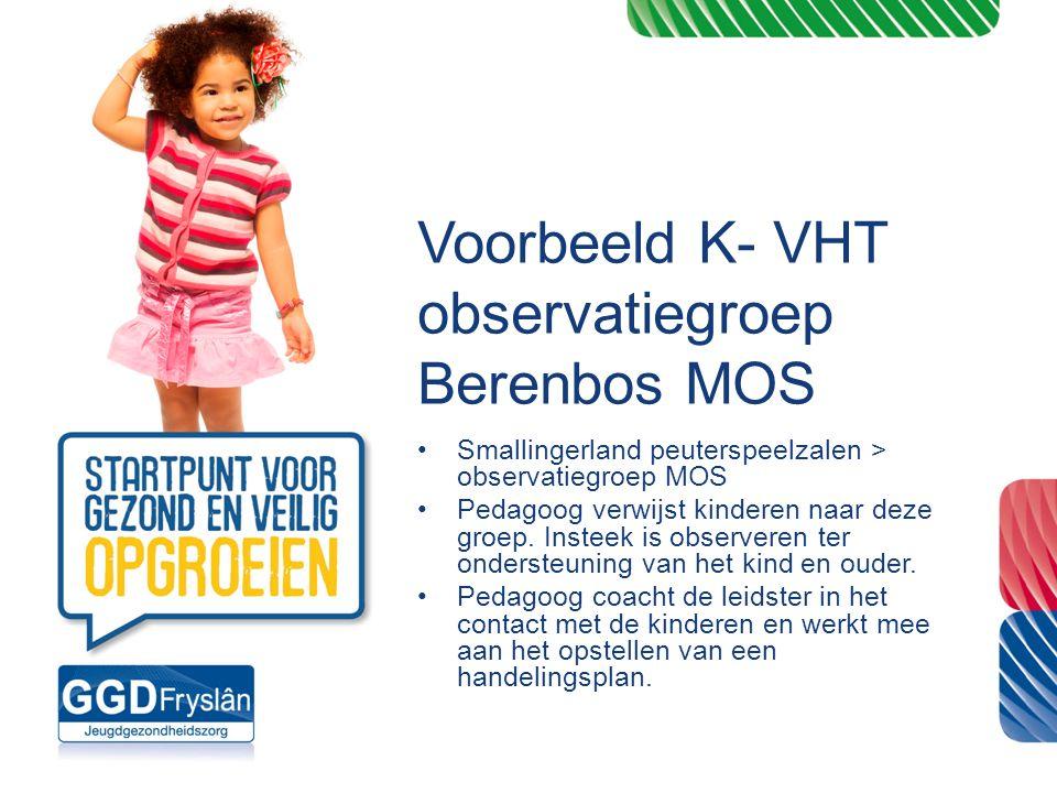 Voorbeeld K- VHT observatiegroep Berenbos MOS Smallingerland peuterspeelzalen > observatiegroep MOS Pedagoog verwijst kinderen naar deze groep. Instee