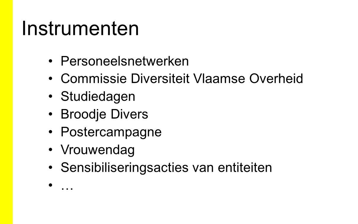 Instrumenten Personeelsnetwerken Commissie Diversiteit Vlaamse Overheid Studiedagen Broodje Divers Postercampagne Vrouwendag Sensibiliseringsacties va