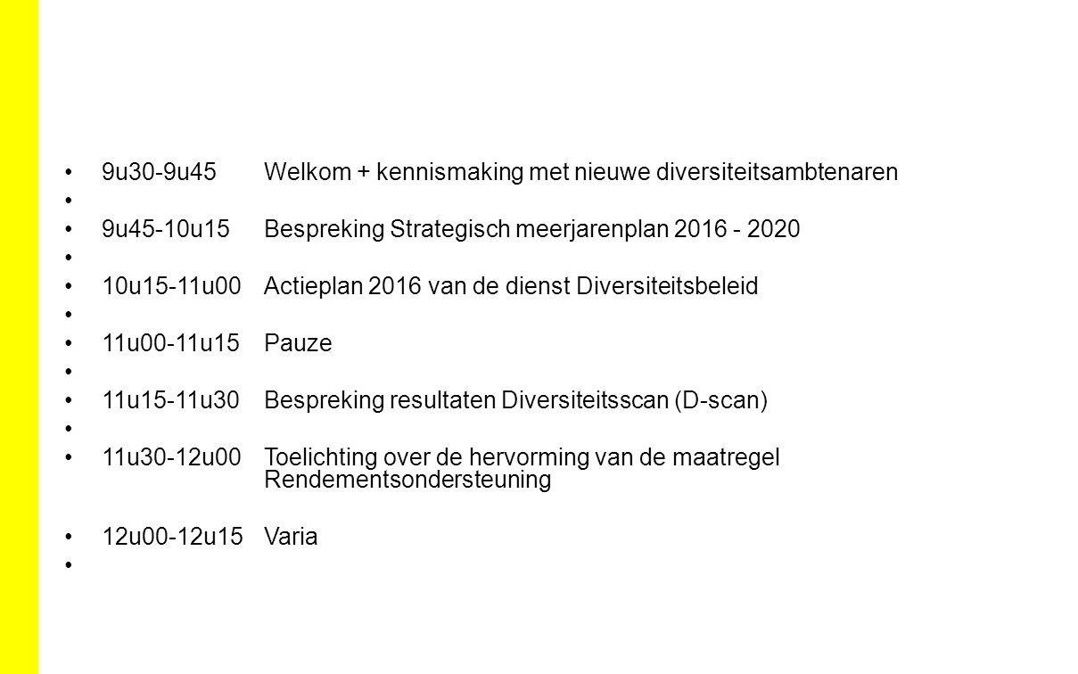 Strategisch Gelijkekansen en Diversiteitsplan 2016 – 2020 SD 4 Werkbaar werken en welbevinden van doelgroepen op de werkvloer structureel ondersteunen OD 4.1 Wij versterken structurele ondersteuning van de doelgroepen op de werkvloer OD 4.2.