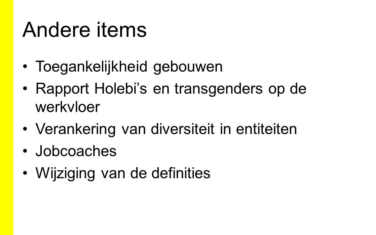 Andere items Toegankelijkheid gebouwen Rapport Holebi's en transgenders op de werkvloer Verankering van diversiteit in entiteiten Jobcoaches Wijziging