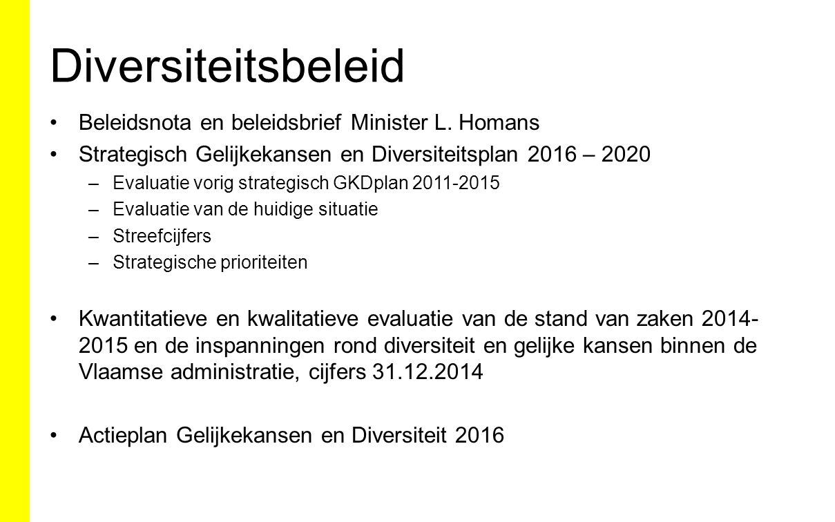 Diversiteitsbeleid Beleidsnota en beleidsbrief Minister L. Homans Strategisch Gelijkekansen en Diversiteitsplan 2016 – 2020 –Evaluatie vorig strategis