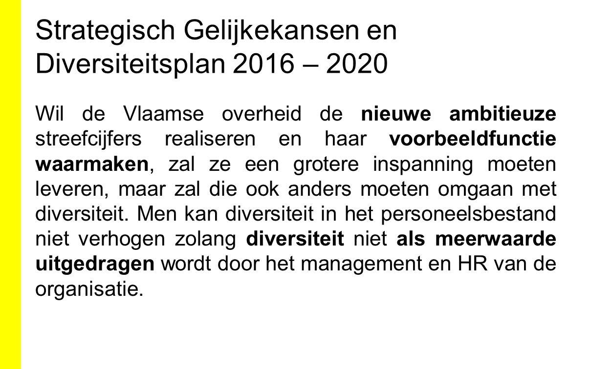 Strategisch Gelijkekansen en Diversiteitsplan 2016 – 2020 Wil de Vlaamse overheid de nieuwe ambitieuze streefcijfers realiseren en haar voorbeeldfunct