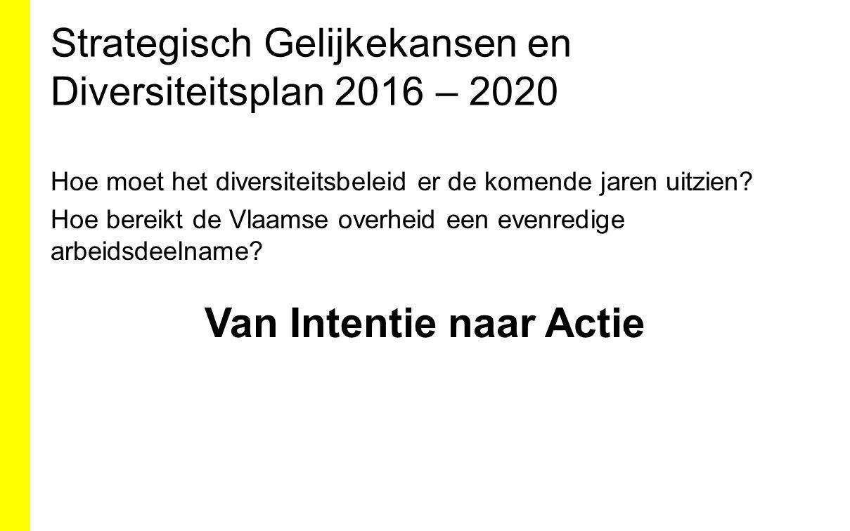 Strategisch Gelijkekansen en Diversiteitsplan 2016 – 2020 Hoe moet het diversiteitsbeleid er de komende jaren uitzien? Hoe bereikt de Vlaamse overheid