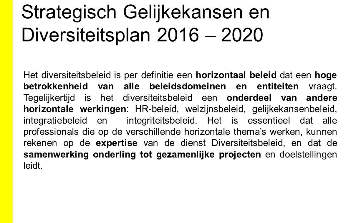 Strategisch Gelijkekansen en Diversiteitsplan 2016 – 2020 Het diversiteitsbeleid is per definitie een horizontaal beleid dat een hoge betrokkenheid va