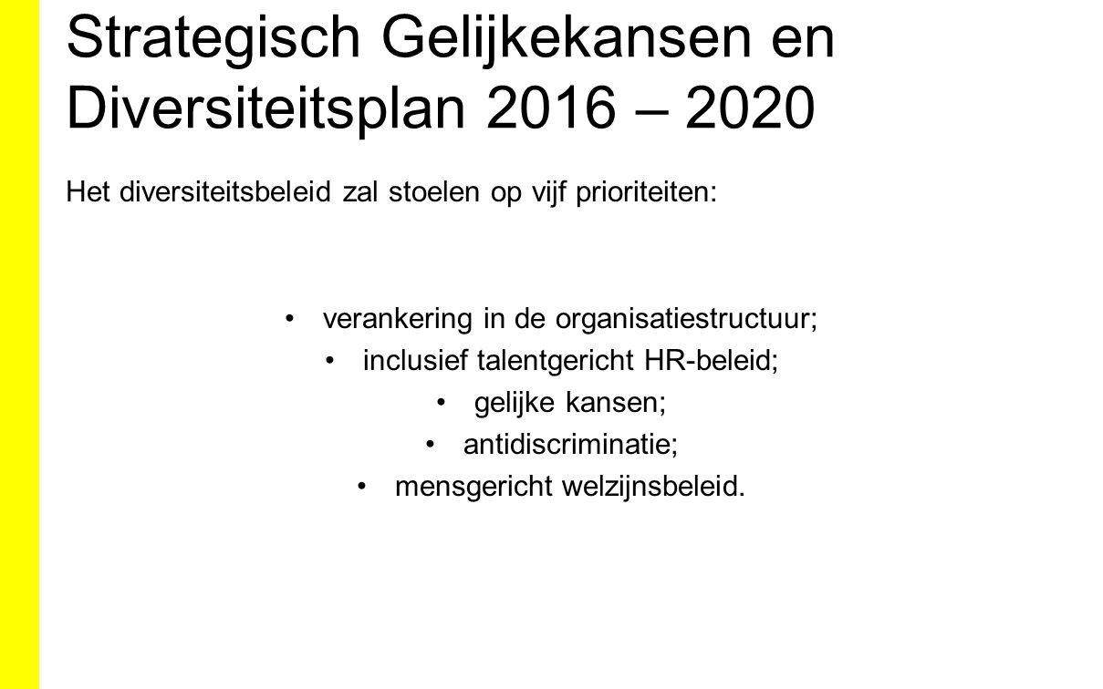 Strategisch Gelijkekansen en Diversiteitsplan 2016 – 2020 Het diversiteitsbeleid zal stoelen op vijf prioriteiten: verankering in de organisatiestruct