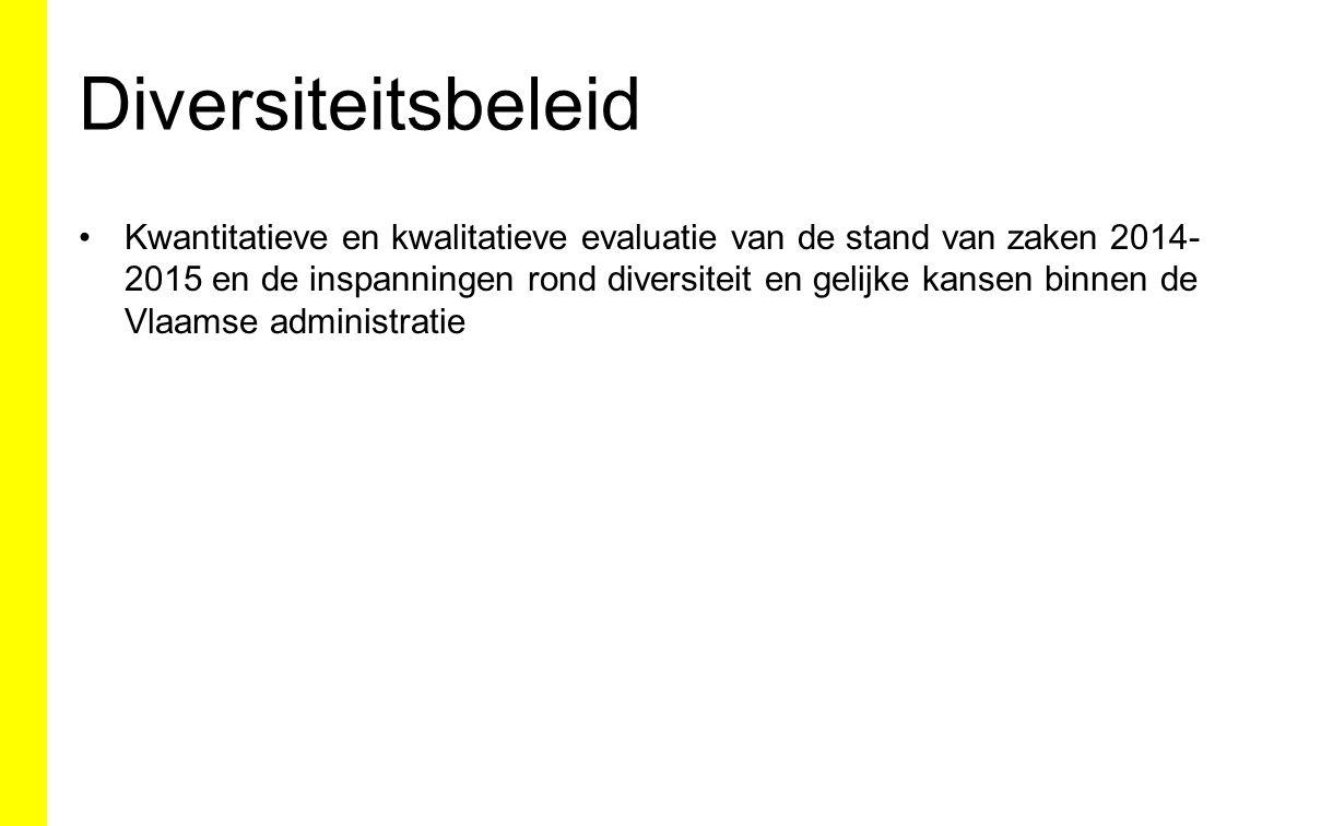Stand van zaken wijziging definitie Voorjaar 2015: opmaak nota 23/04/2015: Voorzitterscollege Najaar 2015: Wijziging BVR 24/12/2004 houdende maatregelen ter bevordering en ondersteuning van het gelijkekansen- en diversiteitsbeleid in de Vlaamse administratie Voorbereiding registratie Uitwerking procedure interne attestering Communicatie 1/1/2016: nieuwe definitie in voege 31/12/2016: eerste monitoring vlg.