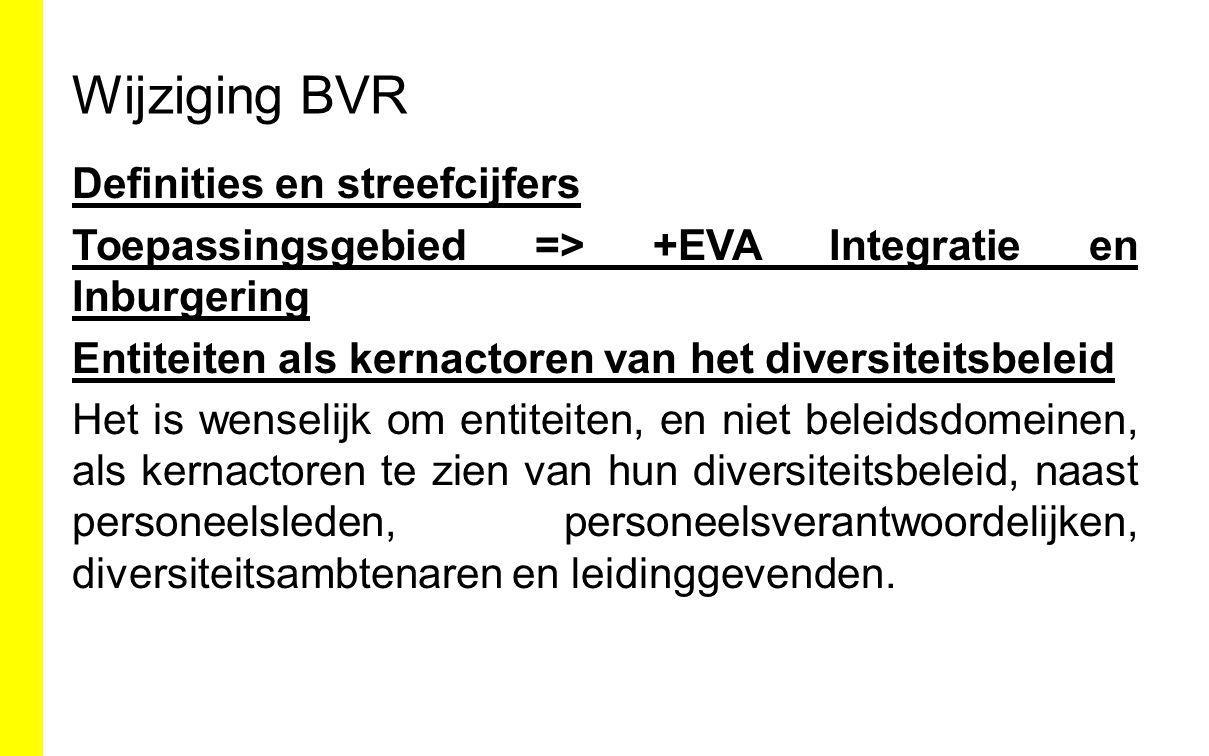 Wijziging BVR Definities en streefcijfers Toepassingsgebied => +EVA Integratie en Inburgering Entiteiten als kernactoren van het diversiteitsbeleid He