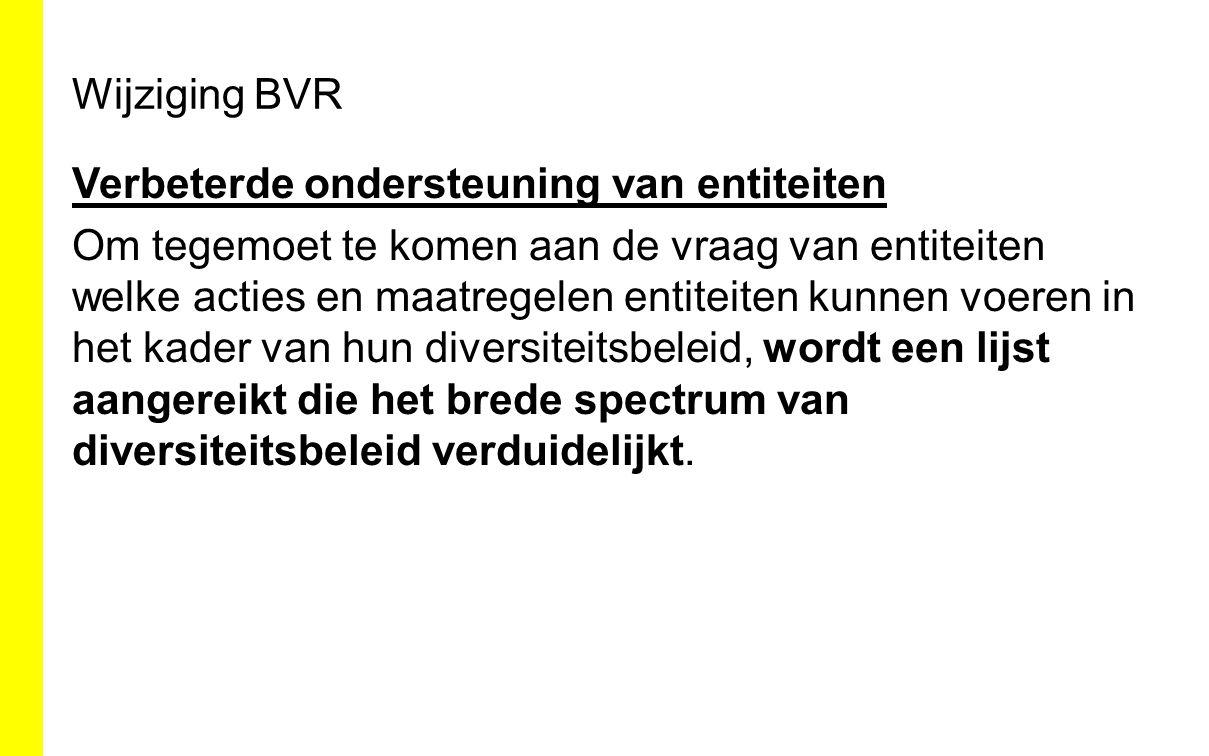 Wijziging BVR Verbeterde ondersteuning van entiteiten Om tegemoet te komen aan de vraag van entiteiten welke acties en maatregelen entiteiten kunnen v