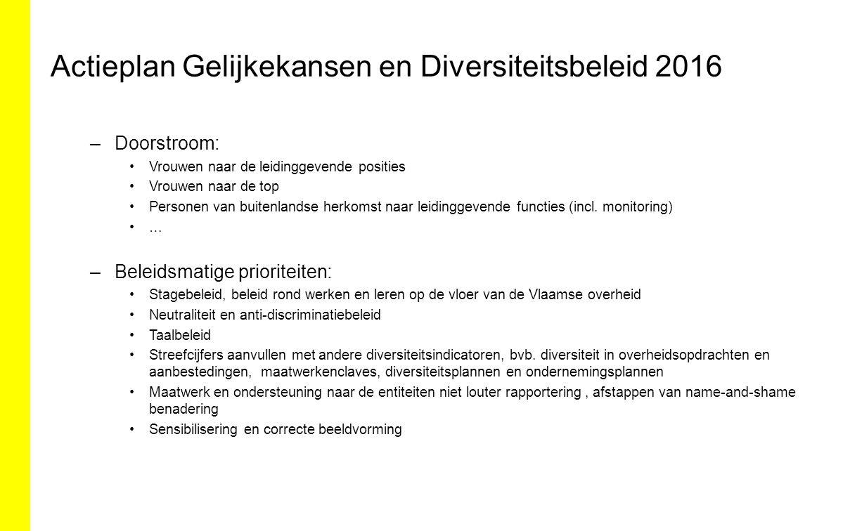Actieplan Gelijkekansen en Diversiteitsbeleid 2016 –Doorstroom: Vrouwen naar de leidinggevende posities Vrouwen naar de top Personen van buitenlandse