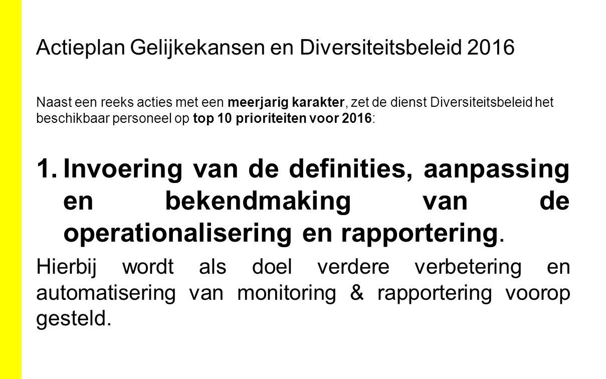 Actieplan Gelijkekansen en Diversiteitsbeleid 2016 Naast een reeks acties met een meerjarig karakter, zet de dienst Diversiteitsbeleid het beschikbaar