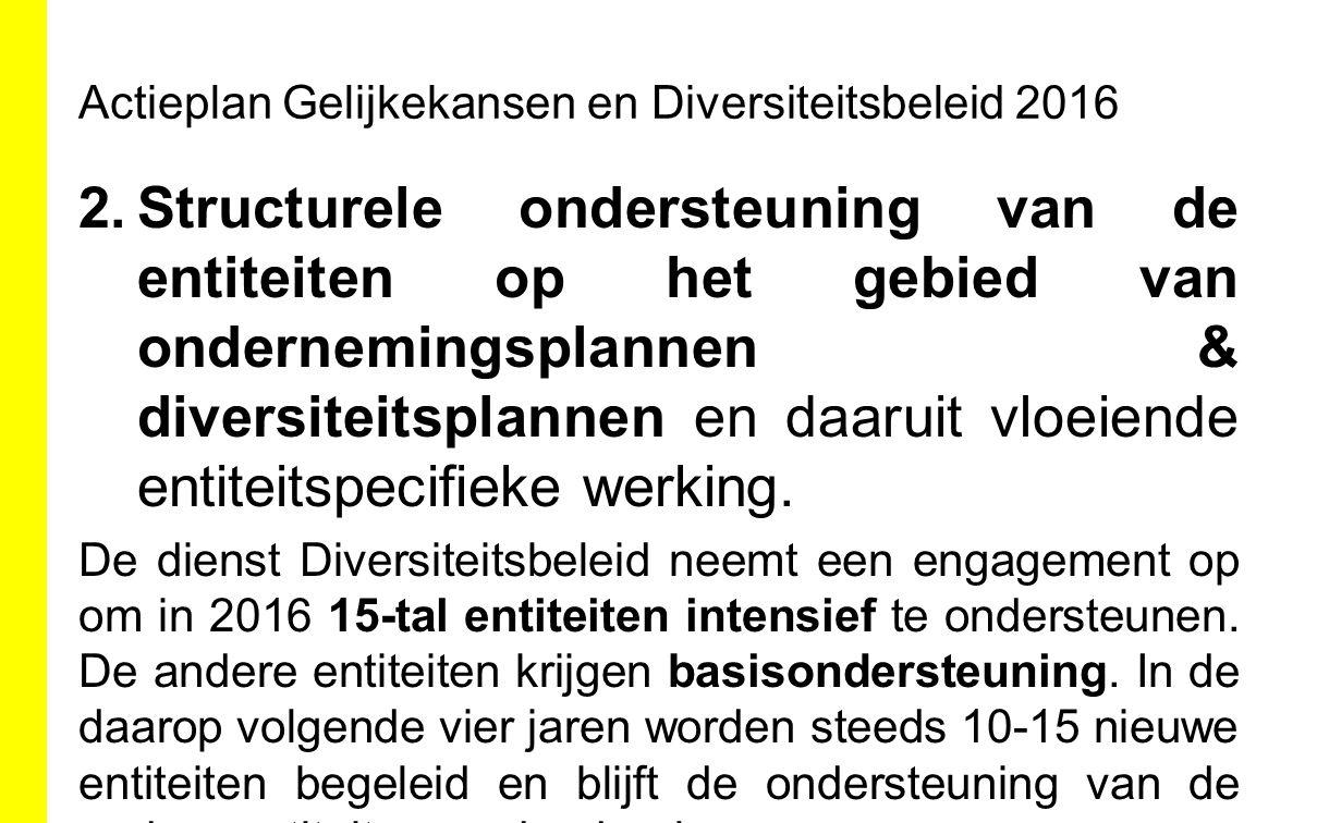 Actieplan Gelijkekansen en Diversiteitsbeleid 2016 2.Structurele ondersteuning van de entiteiten op het gebied van ondernemingsplannen & diversiteitsp