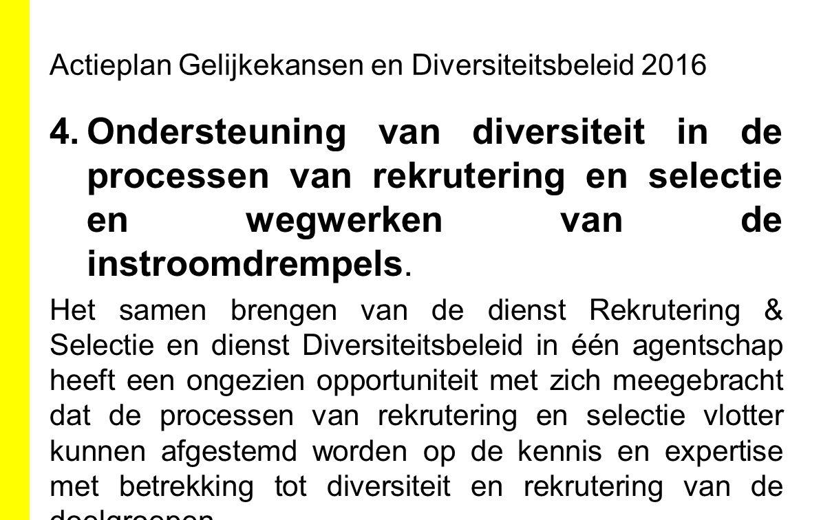 Actieplan Gelijkekansen en Diversiteitsbeleid 2016 4.Ondersteuning van diversiteit in de processen van rekrutering en selectie en wegwerken van de ins