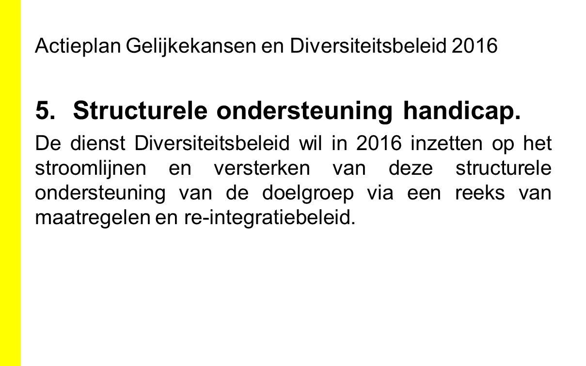 Actieplan Gelijkekansen en Diversiteitsbeleid 2016 5.Structurele ondersteuning handicap. De dienst Diversiteitsbeleid wil in 2016 inzetten op het stro