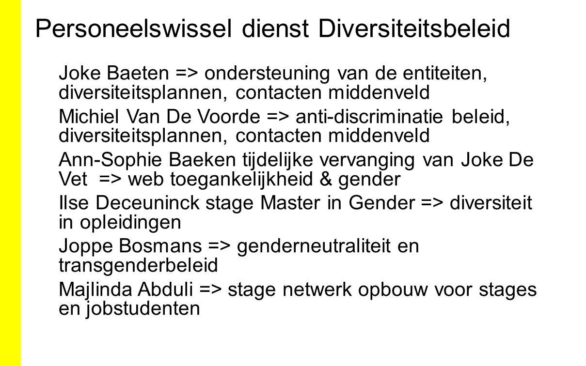 Personeelswissel dienst Diversiteitsbeleid Joke Baeten => ondersteuning van de entiteiten, diversiteitsplannen, contacten middenveld Michiel Van De Vo