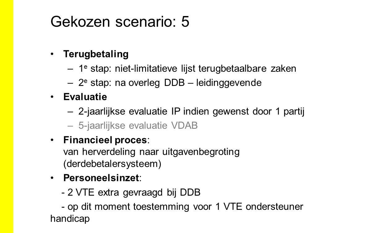 Gekozen scenario: 5 Terugbetaling –1 e stap: niet-limitatieve lijst terugbetaalbare zaken –2 e stap: na overleg DDB – leidinggevende Evaluatie –2-jaar