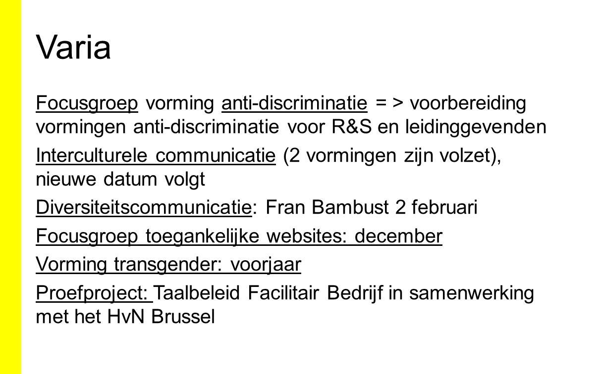 Varia Focusgroep vorming anti-discriminatie = > voorbereiding vormingen anti-discriminatie voor R&S en leidinggevenden Interculturele communicatie (2