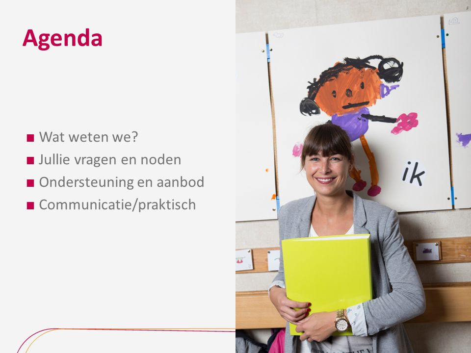 Agenda  Wat weten we  Jullie vragen en noden  Ondersteuning en aanbod  Communicatie/praktisch