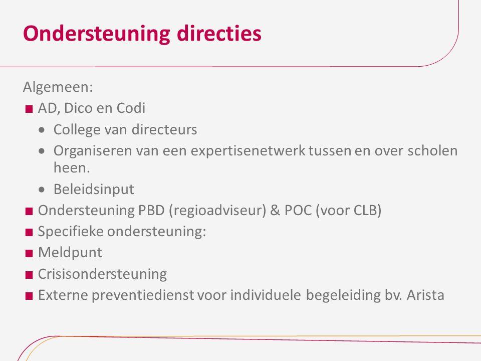 Ondersteuning directies Algemeen:  AD, Dico en Codi  College van directeurs  Organiseren van een expertisenetwerk tussen en over scholen heen.
