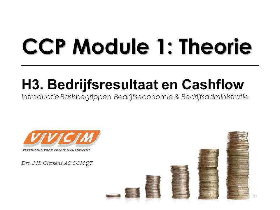 1 CCP Module 1: Theorie H3. Bedrijfsresultaat en Cashflow Introductie Basisbegrippen Bedrijfseconomie & Bedrijfsadministratie Drs. J.H. Gieskens AC CC