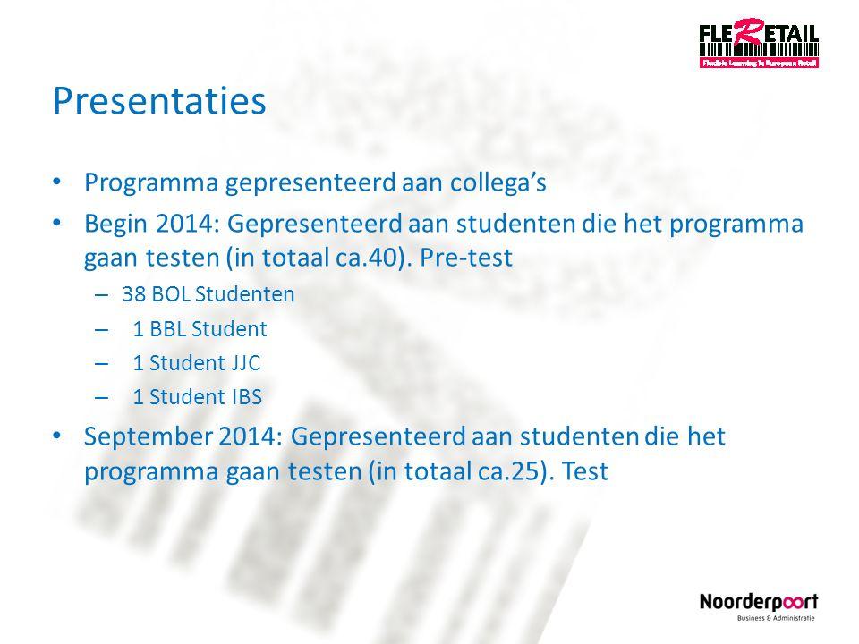 Presentaties Programma gepresenteerd aan collega's Begin 2014: Gepresenteerd aan studenten die het programma gaan testen (in totaal ca.40). Pre-test –