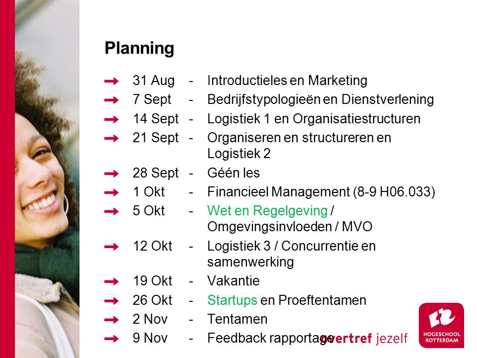 Planning 31 Aug-Introductieles en Marketing 7 Sept-Bedrijfstypologieën en Dienstverlening 14 Sept-Logistiek 1 en Organisatiestructuren 21 Sept-Organiseren en structureren en Logistiek 2 28 Sept-Géén les 1 Okt-Financieel Management (8-9 H06.033) 5 Okt-Wet en Regelgeving / Omgevingsinvloeden / MVO 12 Okt-Logistiek 3 / Concurrentie en samenwerking 19 Okt-Vakantie 26 Okt-Startups en Proeftentamen 2 Nov-Tentamen 9 Nov-Feedback rapportage