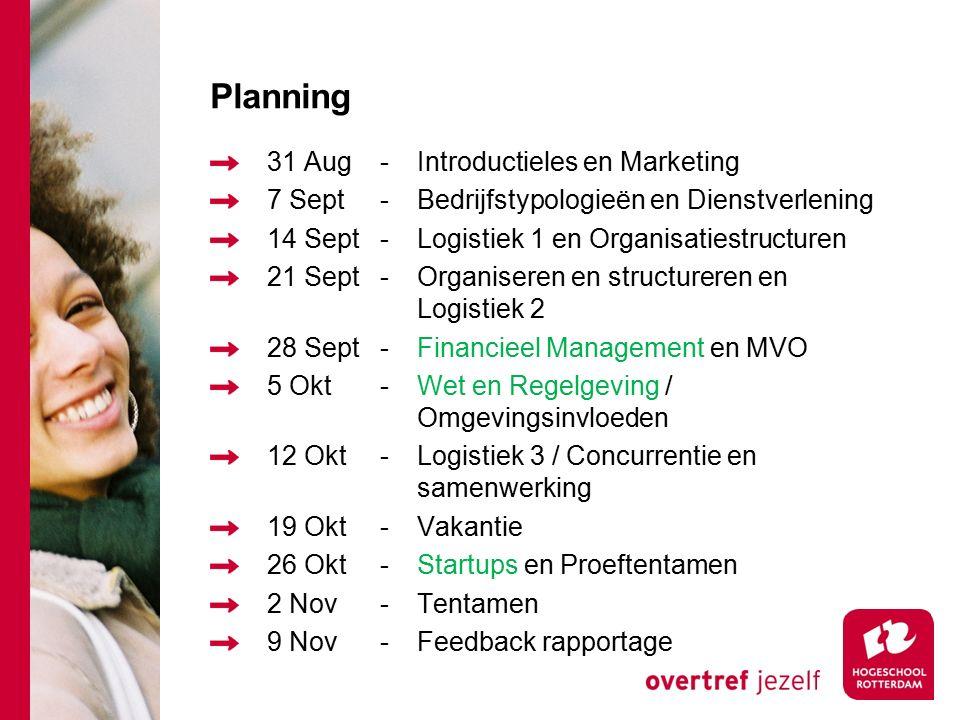 Planning 31 Aug-Introductieles en Marketing 7 Sept-Bedrijfstypologieën en Dienstverlening 14 Sept-Logistiek 1 en Organisatiestructuren 21 Sept-Organis