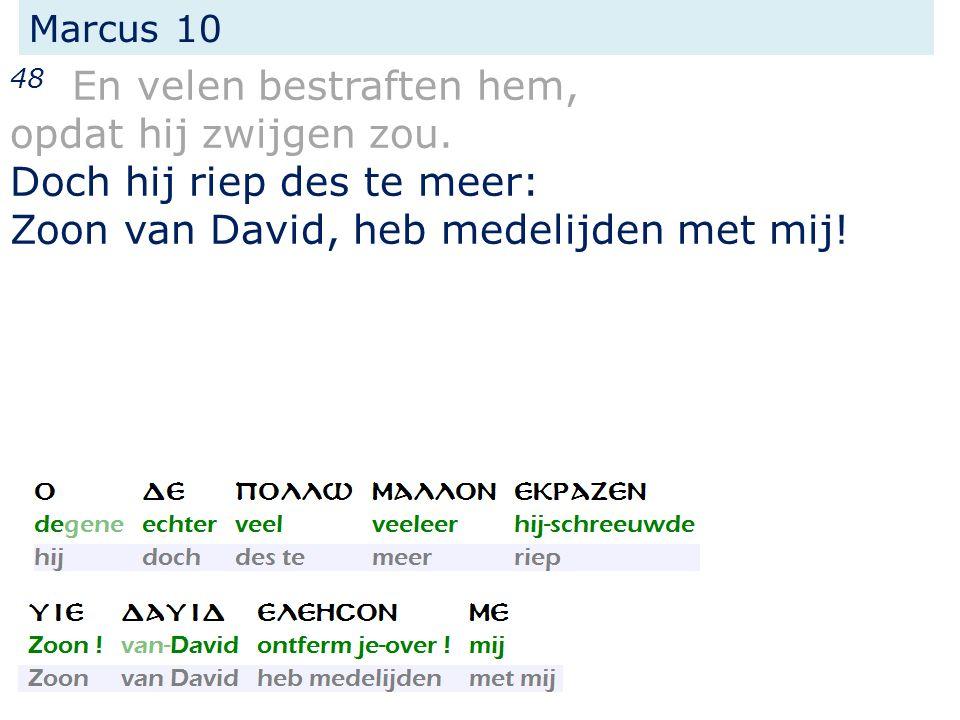 Marcus 10 48 En velen bestraften hem, opdat hij zwijgen zou. Doch hij riep des te meer: Zoon van David, heb medelijden met mij!