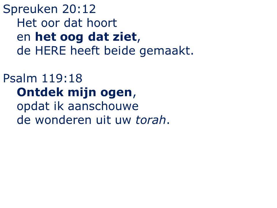 Spreuken 20:12 Het oor dat hoort en het oog dat ziet, de HERE heeft beide gemaakt. Psalm 119:18 Ontdek mijn ogen, opdat ik aanschouwe de wonderen uit