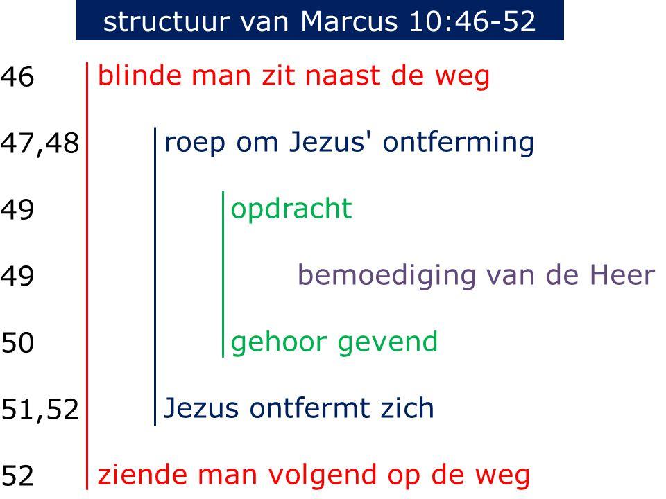 blinde man zit naast de weg roep om Jezus ontferming opdracht bemoediging van de Heer gehoor gevend Jezus ontfermt zich ziende man volgend op de weg 46 47,48 49 50 51,52 52 structuur van Marcus 10:46-52