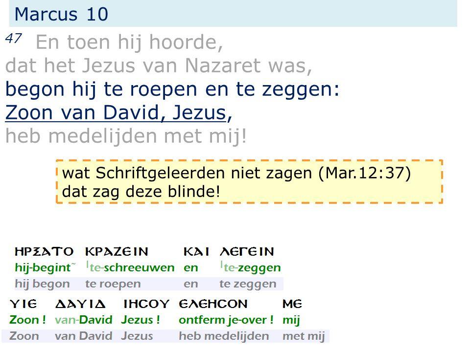 Marcus 10 47 En toen hij hoorde, dat het Jezus van Nazaret was, begon hij te roepen en te zeggen: Zoon van David, Jezus, heb medelijden met mij.