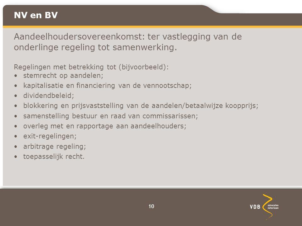 10 NV en BV Aandeelhoudersovereenkomst: ter vastlegging van de onderlinge regeling tot samenwerking.