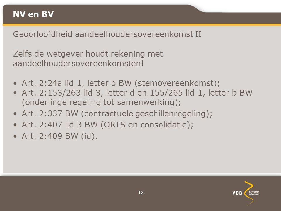12 NV en BV Geoorloofdheid aandeelhoudersovereenkomst II Zelfs de wetgever houdt rekening met aandeelhoudersovereenkomsten.