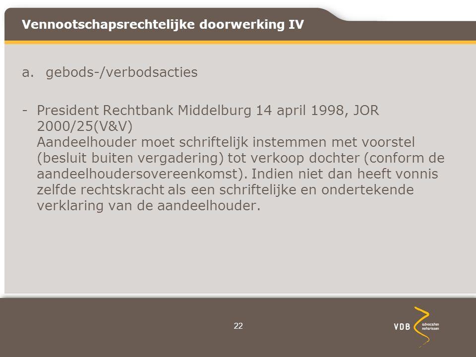 Vennootschapsrechtelijke doorwerking IV a.gebods-/verbodsacties -President Rechtbank Middelburg 14 april 1998, JOR 2000/25(V&V) Aandeelhouder moet schriftelijk instemmen met voorstel (besluit buiten vergadering) tot verkoop dochter (conform de aandeelhoudersovereenkomst).