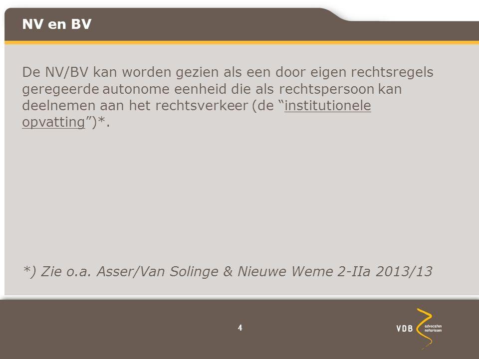 44 NV en BV De NV/BV kan worden gezien als een door eigen rechtsregels geregeerde autonome eenheid die als rechtspersoon kan deelnemen aan het rechtsverkeer (de institutionele opvatting )*.