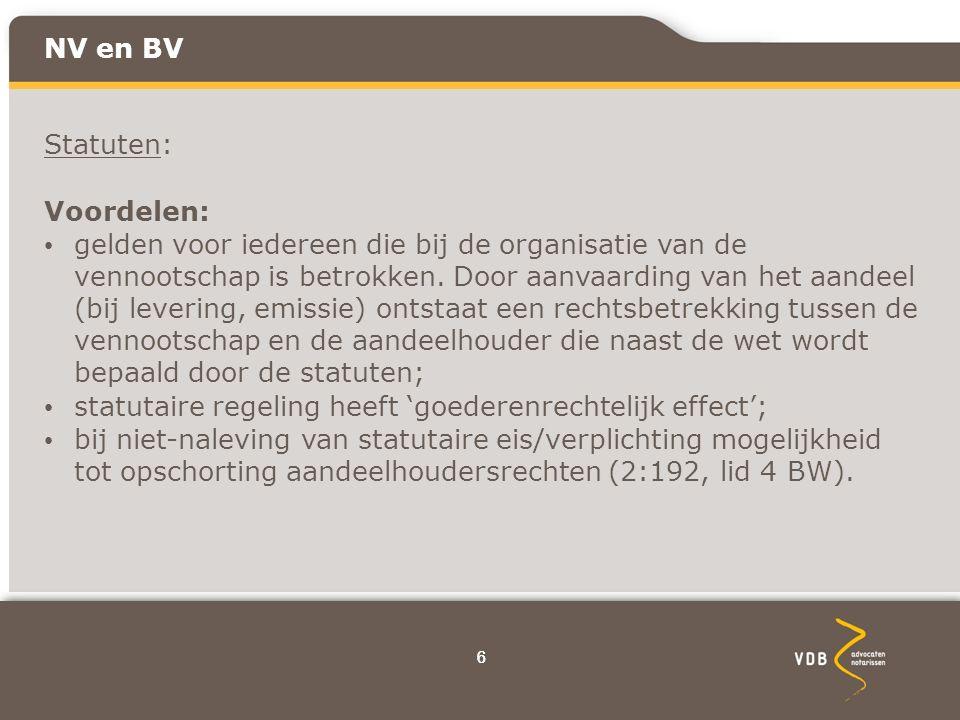 77 NV en BV Statuten: Nadeel: Statuten zijn gedeponeerd bij handelsregister een daardoor openbaar.